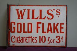 Wills's Gold Flake Double Sided Enamel Advertising Sign  #
