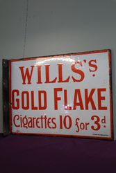 Willsand39s Gold Flake Double Sided Enamel Advertising Sign