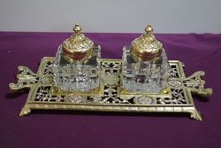 Early C20th Antique Desk Set , Dated 1905 Cut Glass On Brass Stand #