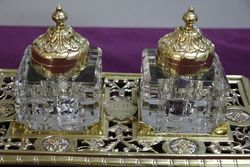 Early C20th Antique Desk Set  Dated 1905 Cut Glass On Brass Stand