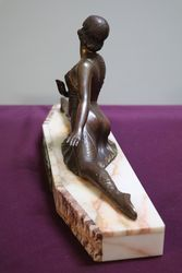 Art Deco Bronze and Marble Ballet Lady Figure  Signed By PSega