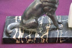 Pair Of Art Deco Spelter + Marble German Shepherd Bookends