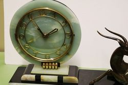 Art Deco MarbleOnyx and Spelter Mantle Clock