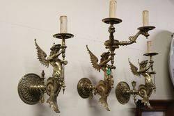 Set Of 3 Brass Wall Lights