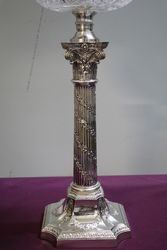 Antique Banquet lamp On Silver Plated Corinthian Column