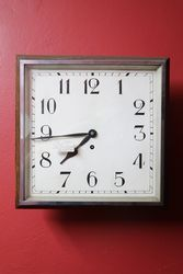 "14"" Square Dial Wall Clock With Chrome Bezel + Oak Surround C1930"