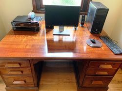 1930s Australian Fiddle Back Blackwood Desk