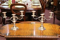 20th Century Silver Plated 3 Branch Candelabra