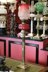 A Genuine Late Victorian Ruby Glass Banquet Lamp