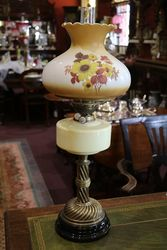 Late Victorian Oil Lamp With Painted Shade