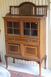 Antique Edwardian Mirror Back Parlor Cabinet.#