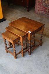 Nest of 3 Oak Barley Twist Tables