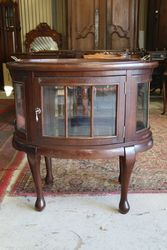 Antique Oval Curio Cabinet With Removable Serving Tray Top
