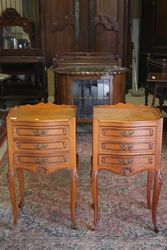 Pair Of C20th Serpentine Front Bedside Cabinets. #
