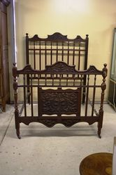 Late Victorian English Carved Walnut Double Bed