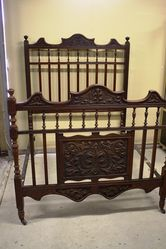 English Carved Walnut Double Bed