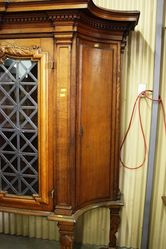 Pair Of Large And Rare Welsh Oak Bookcases With Lead Light Panels