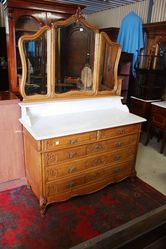 French Oak Marble Top Dressing Chest.