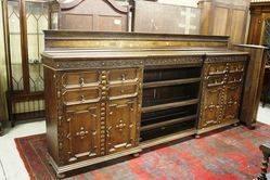 Antique 10Ft Oak Secretaire Bookcase