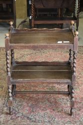 Early C20th Barley Twist 2 Tier Tea Trolley #