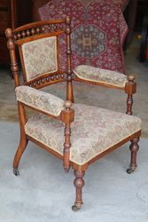 Edwardian Open Arm Walnut Bedroom Chair. #