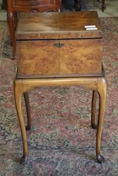 1920`s Burr Walnut Sewing Table #