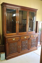 Large Antique Carved Walnut 3 Door Library Bookcase.#