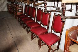 Set Of 6 Leather Padded Backed Chairs
