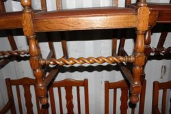 Set Of 7 Barley Twist Dining Chairs