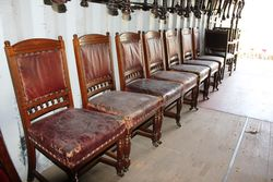 Set Of 7 Pollard Oak Leather Back Dining Chairs