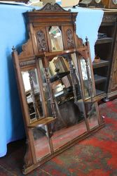Edwardian Walnut Overmantle Mirror. #