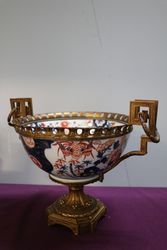 C19th Japanese Imari Bowl Mounted On Gilt Metal Stand