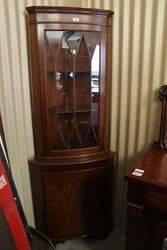 C20th Mahogany Corner 3 Shelf Corner Cabinet #