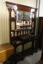 Large Edwardian Mahogany Mirror Back Hall Stand. #