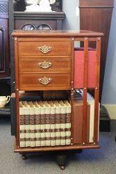 Mahogany Revolving Bookcase With Fine Quality Inlay  #