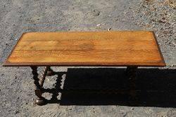C20th Oak Barley Twist Leg Coffee Table #