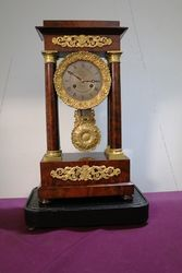 Antique Mahogany French Empire Portico Clock. #