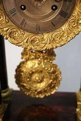 Antique Mahogany French Empire Portico Clock
