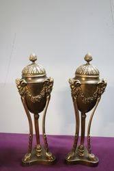Quality Pair Of Antique Bronze Urns