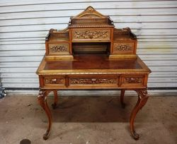 Antique French Carved Walnut Writing Desk. #