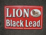 A Vintage Lion Black Lead  Pictorial Enamel Sign.