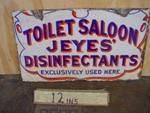 Antique Jeye`s Saloon Enamel 2 Sided Sign