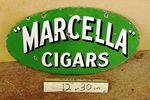 Marcella Cigars Double Sided Enamel Sign