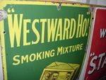 OldWesrward Ho Pictorial Enamel Sign