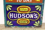 Antique Hudson Soap Advertising Clock Enamel Sign