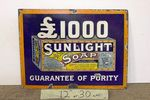 Vintage Sun Light Soap Pictorial Enamel Sign.
