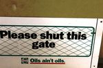 Castrol Please Shut This Gate Original Tin Sign.