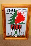 TGO Fire Danger Pictorial Enamel Sign.