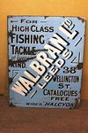 Antique + Rare Walbran Fishing Tackle Enamel Sign.