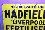 Antique Hadfields Fertilisers Farming Enamel Sign.